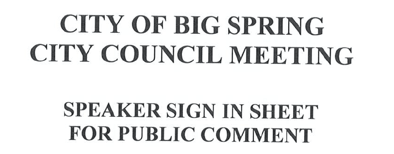 City Council Sign In Public Comment