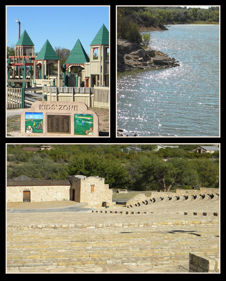 Kids Zone, Water, and the Amphitheater at Comanche Trail Park