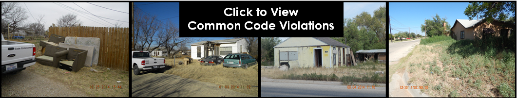 A picture of various code enforcement violations, weedy lot, front yard parking, etc.