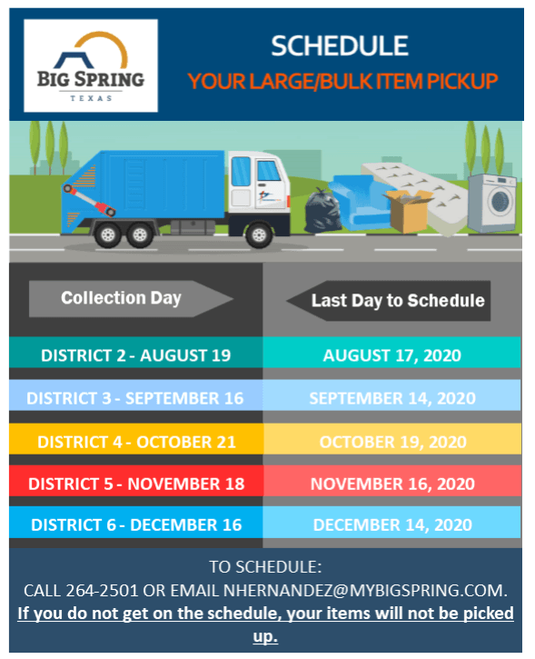 Large Item Pickup Schedule 2020