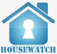 Image contains the shape of a house with a keyhole at it's center, the House Watch logo.