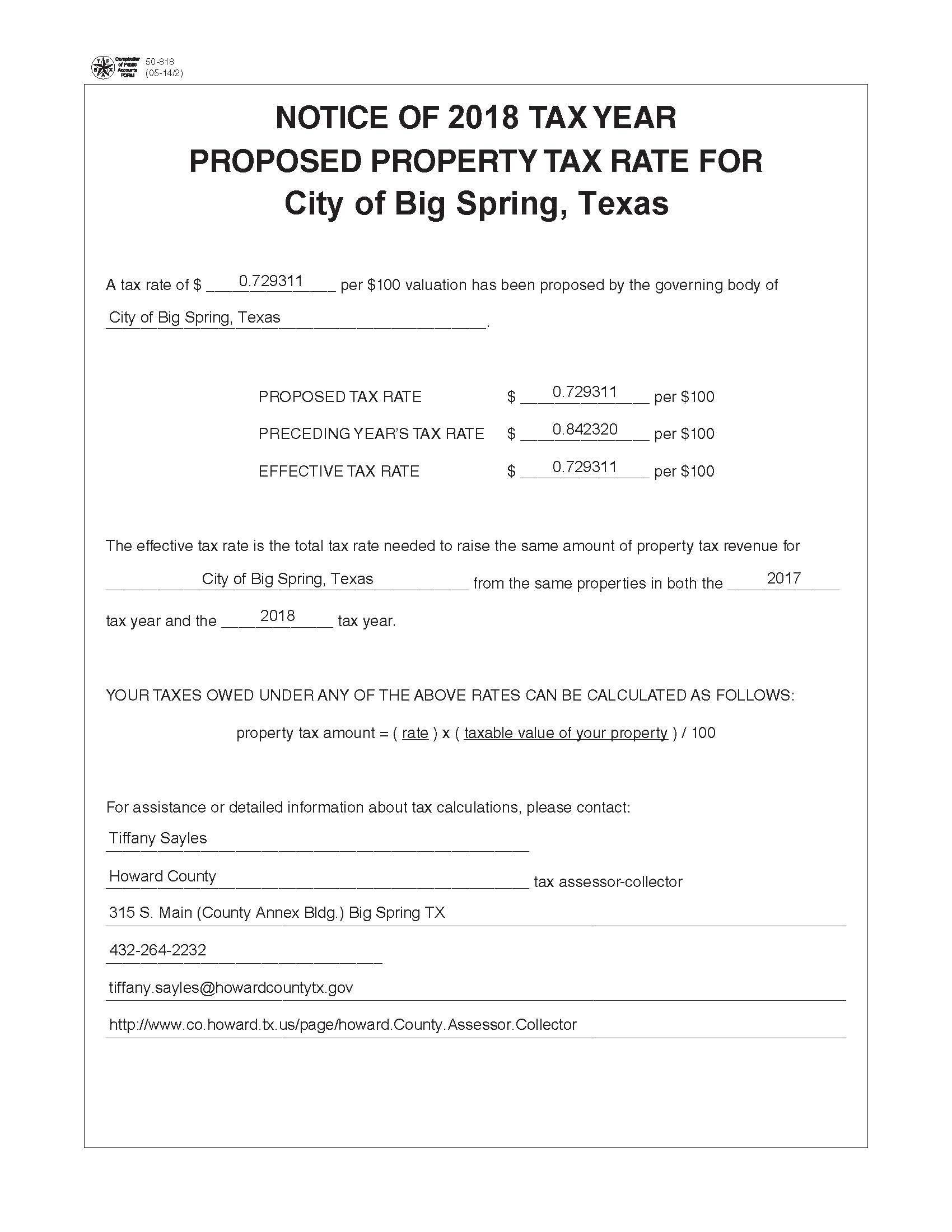 2018 Proposed Tax Rate Notice
