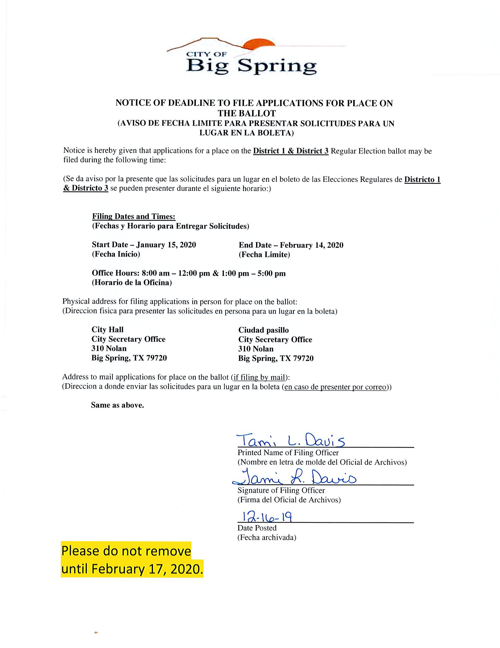 Notice of Deadline to File 12-16-19